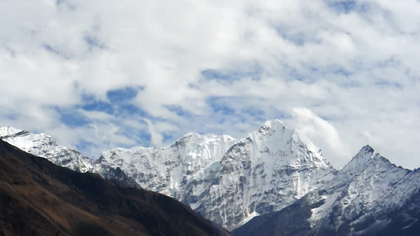 Fast moving clouds in Himalayas Nepal - HD stock video clip