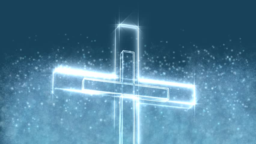 glowing christian cross motion background stock footage