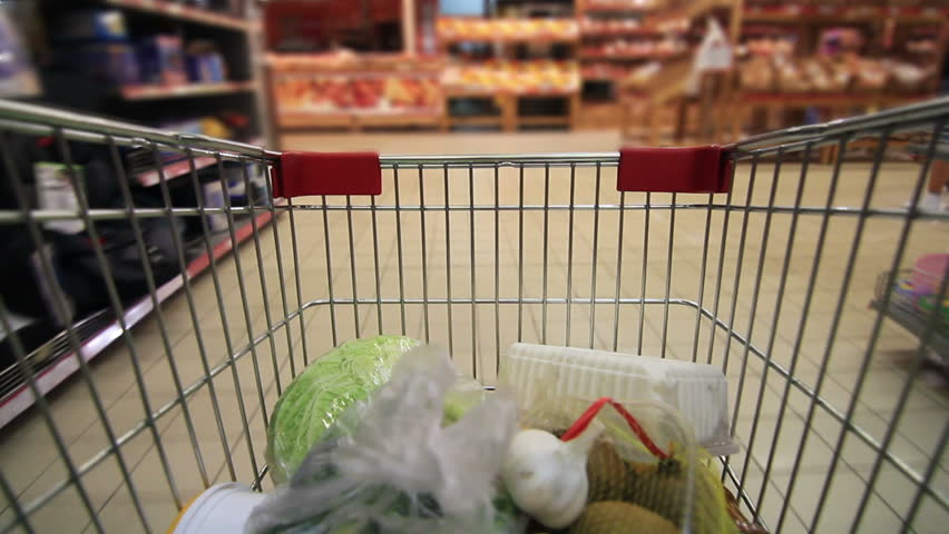 trolley in a supermarket timelapse