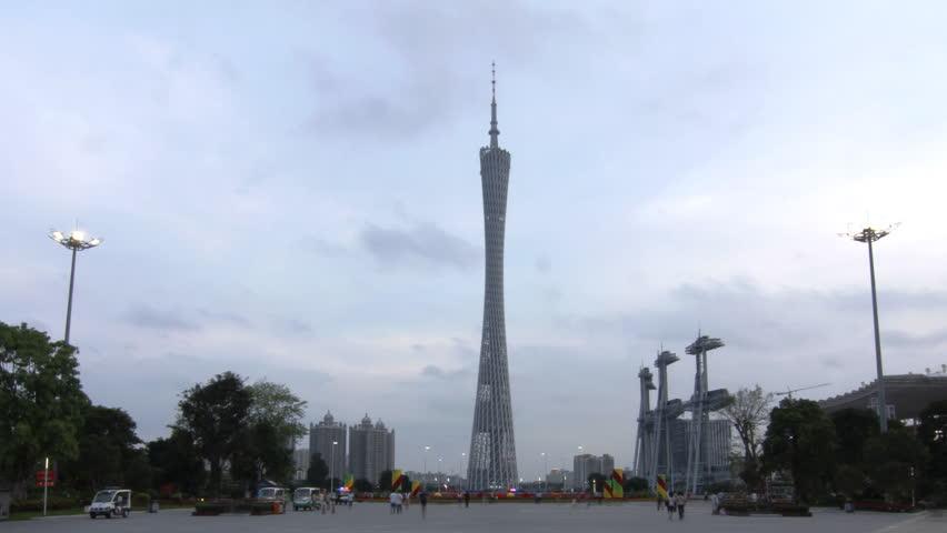 GUANGZHOU - MAY 12: Time lapse of Guangzhou Flower City Plaza Day to Night
