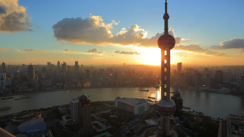 """SHANGHAI, CHINA - CIRCA JULY 2012: Timelapse video of  Shanghai, China Skyline at Sunset circa July 2012. Oriental Pearl Tower and Huangpu River.  >>> Please search similar: """" ShanghaiSkyline """" ."""