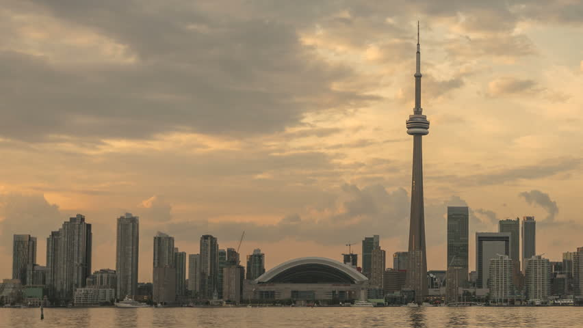 TORONTO, CANADA, AUG 15, 2012: Time lapse Toronto Skyline and CN Tower with