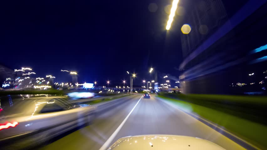 driving at night, timelapse