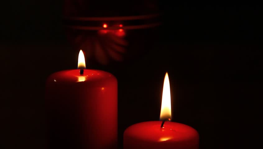 Two Red Candles, Burning, Close Stock Footage Video ...