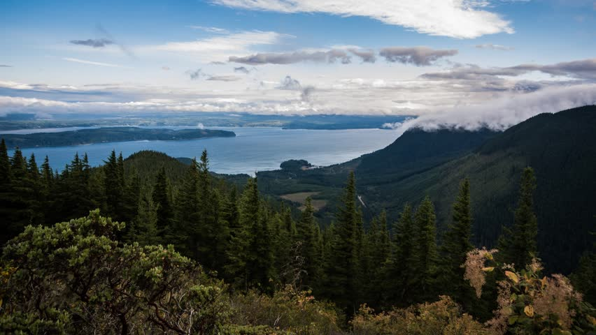 Clouds over Hood Canal in Washington State as seen from Mt. Walker