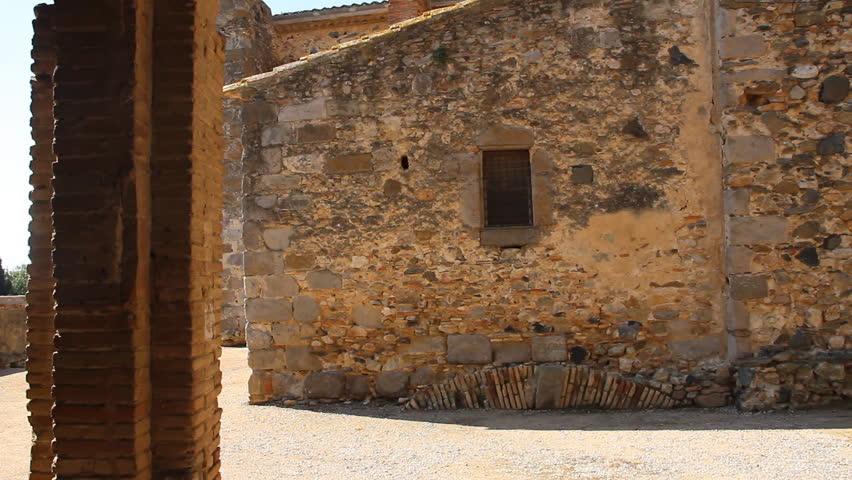 Castello de Empuries, Medieval architecture. Catalonia, Spain. - HD stock footage clip