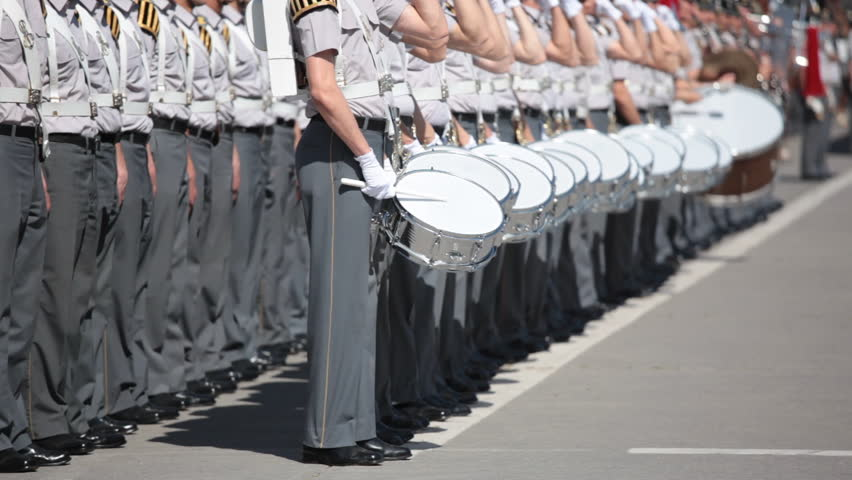 Army Cadet band marching in a parade