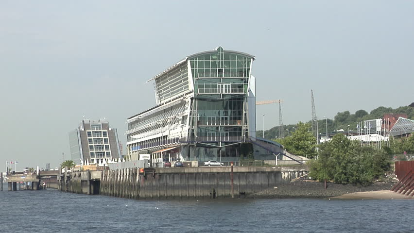 HAMBURG, GERMANY - AUGUST 01: Hamburg harbour north coast architecture. The city works hard to present a modern face based on its traditions to the harbour side.  - HD stock video clip