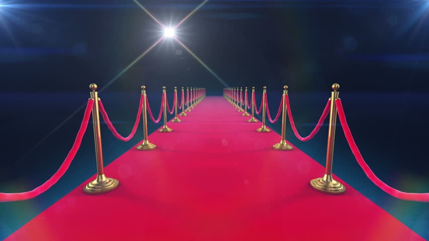 Unrolling Red Carpet animation and paparazzi camera flashes.