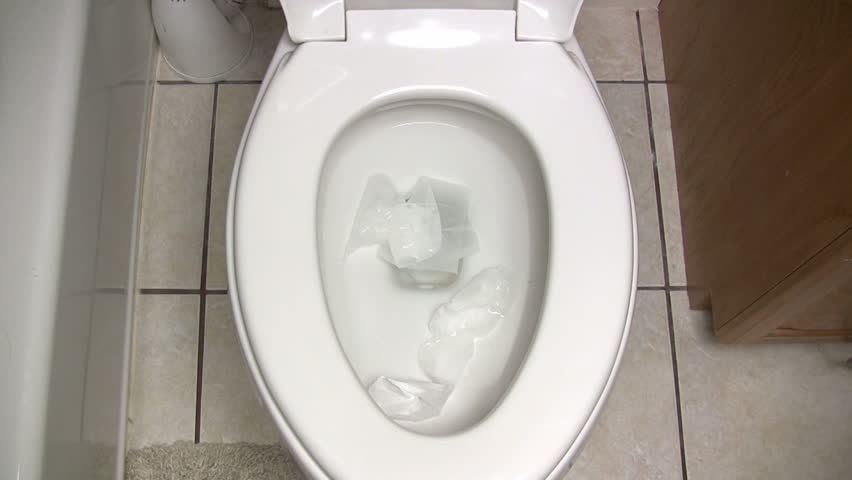 Toilet Flushed Top Down View