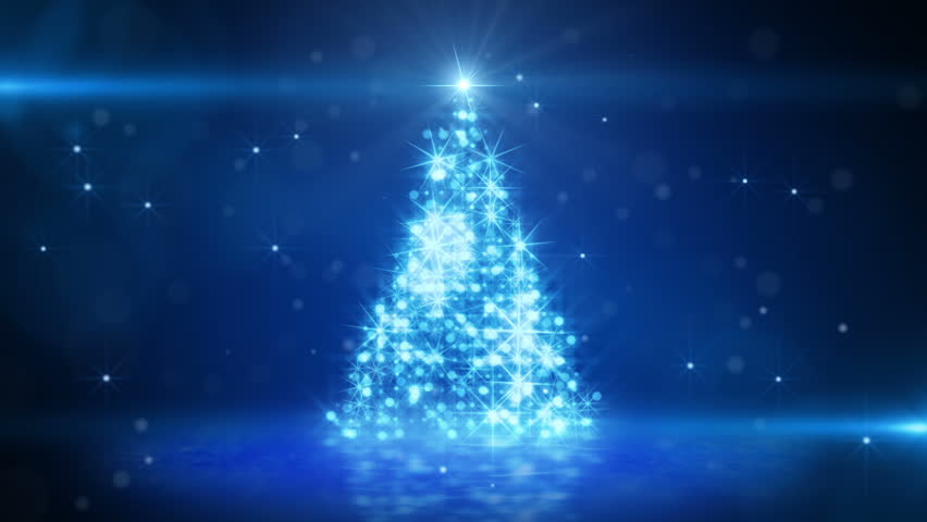christmas tree glowing blue particles. last 10 seconds are loopable