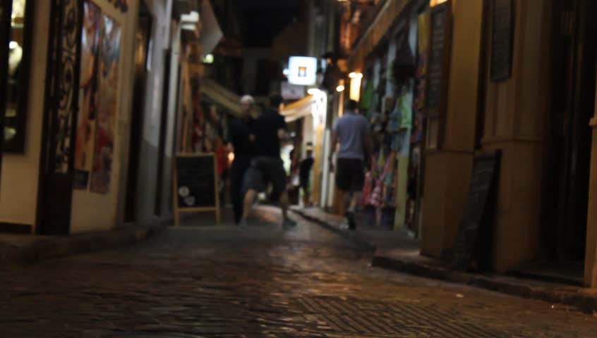 People Walking Down The Street At Night Stock Footage ...