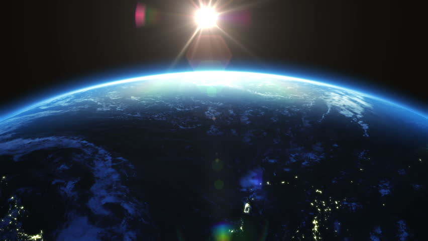 Earth rotation 360 degrees with the Sun. Cities at Night. Looped animation. HD 1080.