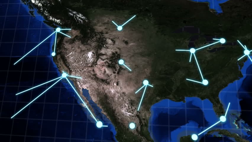 Animation of a network spreading rapidly across the globe.