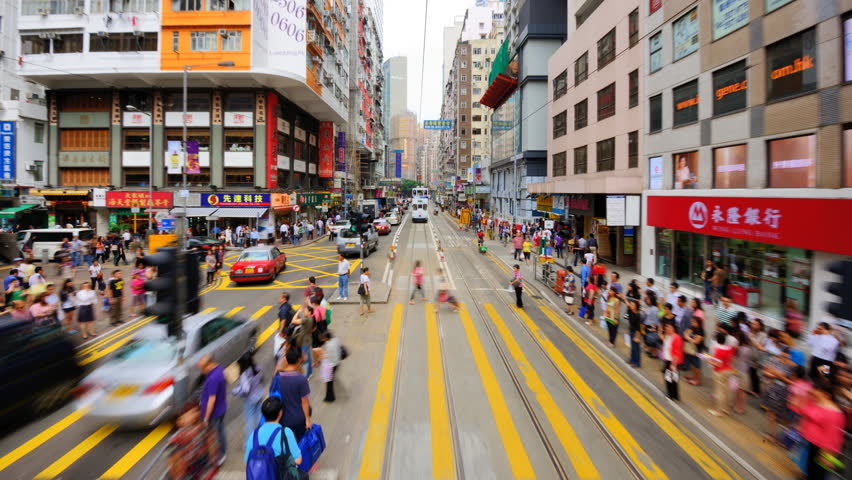 HONG KONG - OCTOBER 9: View from the Hong Kong Tramways October 9, 2012 in Hong Kong, China. Beginning in 1904, it is Hong Kong's earliest form of public transportation.