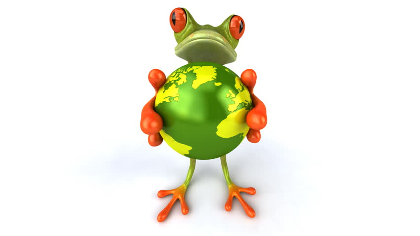 Frog with the world - HD stock footage clip