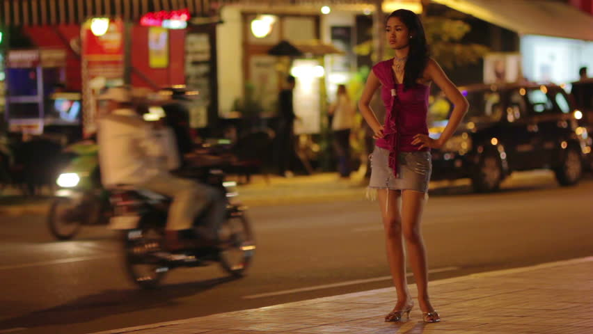 prostitute waiting for costumer on street at night - HD stock video clip