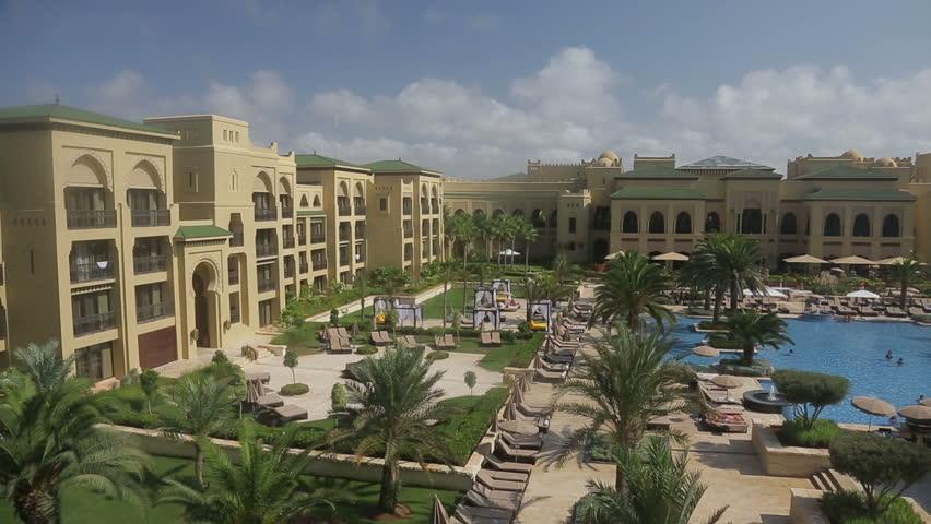 MOROCCO, MARRAKECH - JULE 21:  Pool in the Hotel Mazagan Jule 21, 2012 in Morocco, Marrakech.