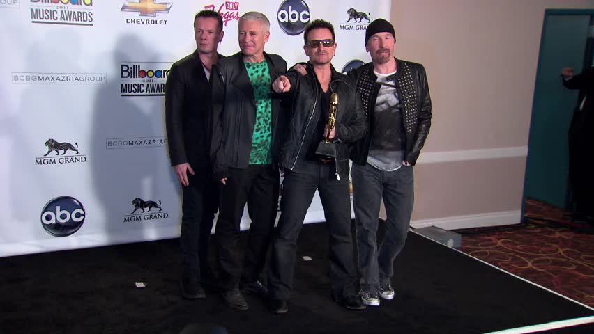 Las Vegas, NV MAY 22, 2011: U2, Larry Mullen Jr, Adam Clayton, Bono, The Edge, walks the red carpet at the Billboard Music Awards 2011 held at the MGM Grand Garden Arena