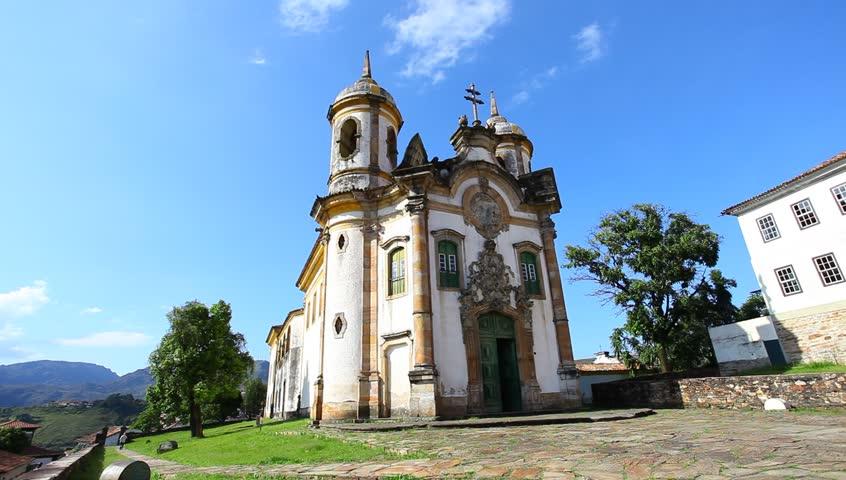 view of the Igreja de Sao Francisco de Assis of the unesco world heritage city of Ouro Preto in Minas Gerais, brazil.  - HD stock footage clip