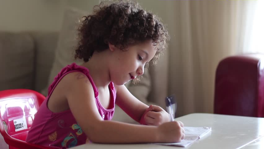 Kid doing homework - HD stock video clip