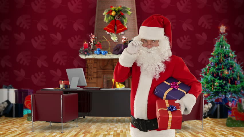 Santa Claus Holding Presents In His Modern Christmas