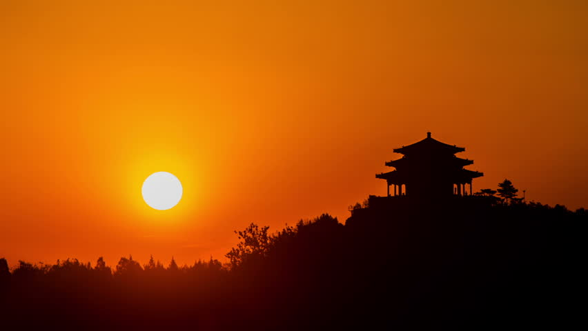 sunrise in Jingshan Park, Beijing