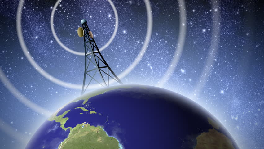 An antenna transmitting a signal around the world, with audio. Retro black and white version also available. Earth map credit: NASA Visible Earth.