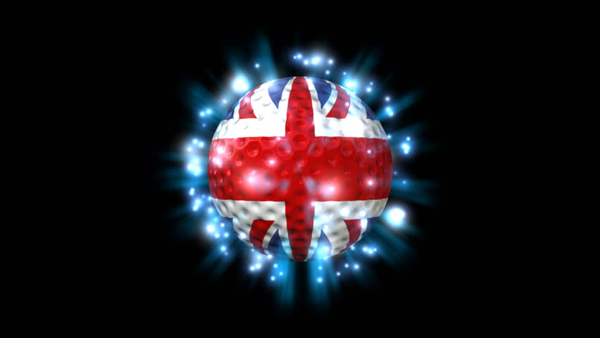 United Kingdom Golf Ball - Golf 11 (HD) - Motion graphic - spinning shining golf ball with flag of United Kingdom. Alpha included.