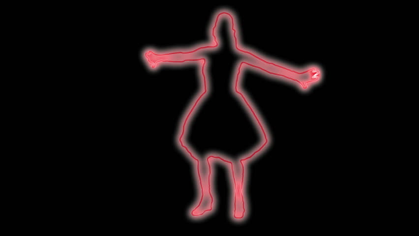 neon outlined gogo dancer silhouette in red - HD stock footage clip