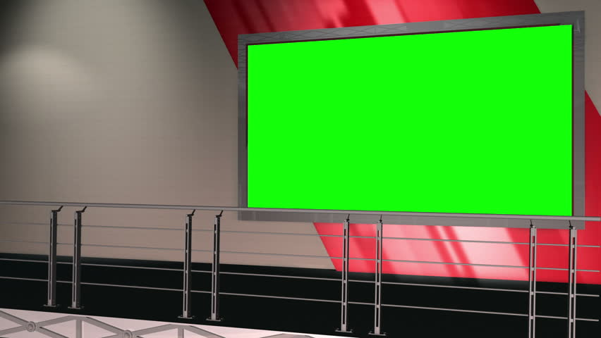 Virtual Set 12 - Balcony Newsroom Studio Background Shot   This is a virtual studio background that can be used in green screen video production to place your presenter into a newsroom.