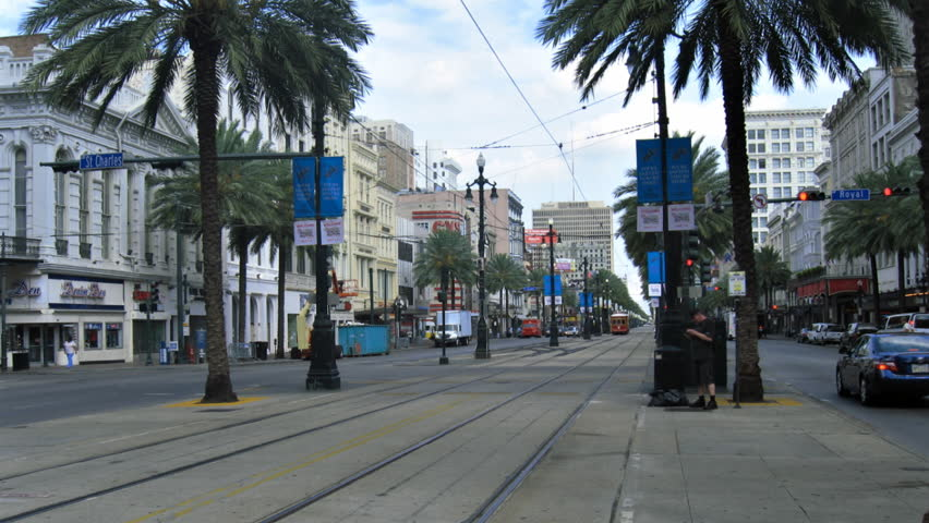 NEW ORLEANS - CIRCA JULY 2011: (Timelapse view) Downtown New Orleans Streetcars