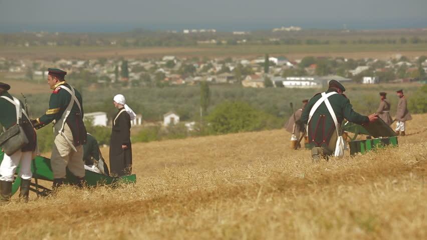 CRIMEA, UKRAINE  SEPTEMBER 29, 2012: Cannons on a battle during reenactment of Battle of Alma (Crimean War 1853 - 1856) on a historical festival in Crimea.  - HD stock footage clip