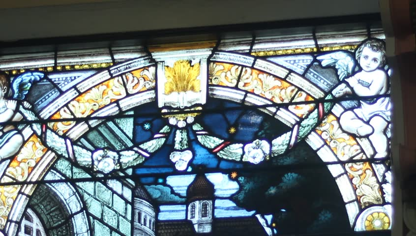 Stain glass windows - HD stock footage clip