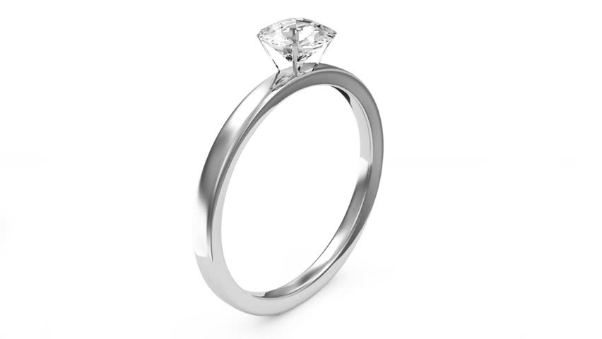 Animation of Platinum Wedding Ring with Diamond. Alpha Channel is Included (HD)  - HD stock footage clip