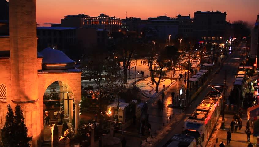 Divanyolu Street at winter sunset in Istanbul, Turkey.