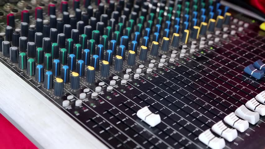Electronic Sound Board : Mixing console also called audio mixer sound board
