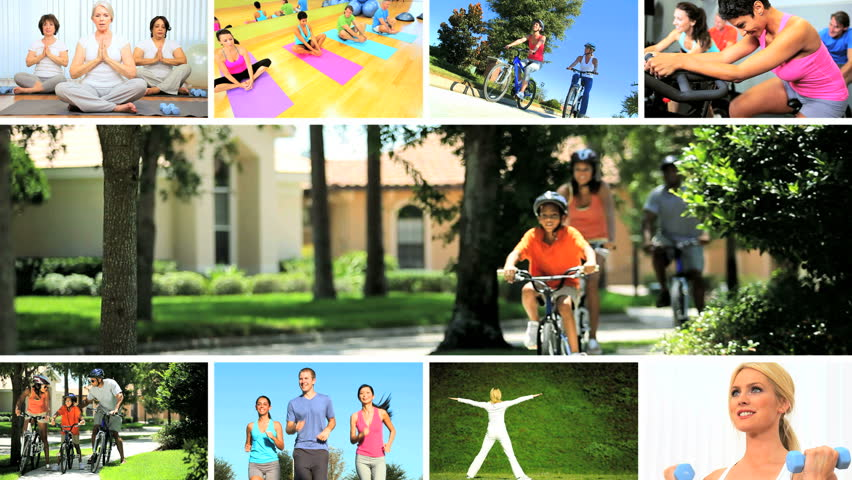 Montage images young people, seniors and families enjoying physical exercise yoga indoors and outdoors