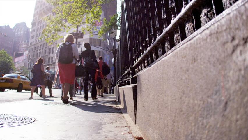 Busy Street Sidewalk Business Commut...