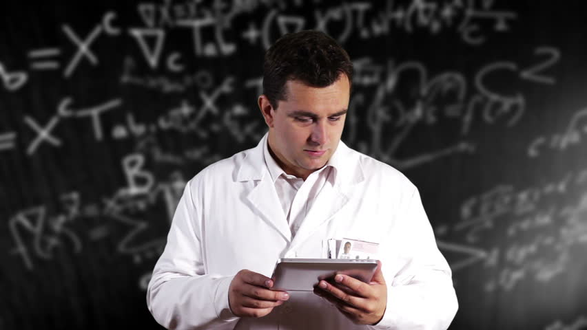 Scientist Using Tablet PC Scientific Mathematics Background - HD stock video clip