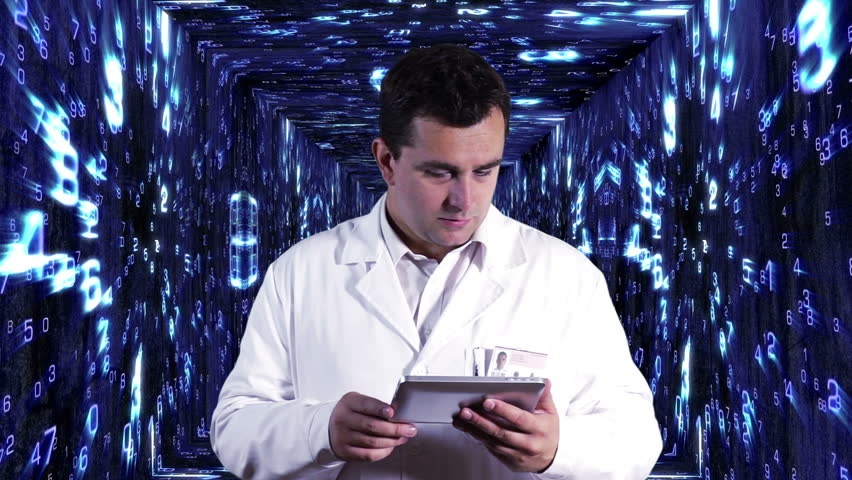 Scientist using Tablet PC Decimal Numbers Tunnel Background - HD stock video clip