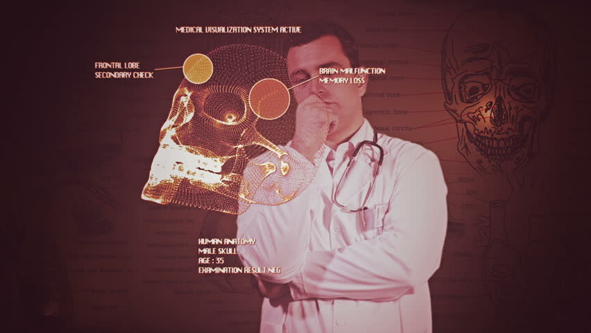Young Doctor Touchscreen Medical Brain Examination Retro 6 - HD stock video clip