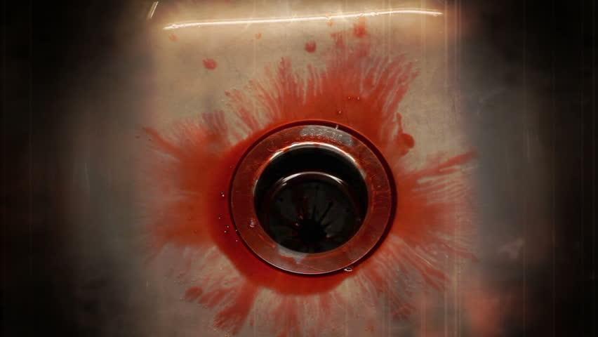 Blood in sink enhanced creepy 1080P - HD stock video clip