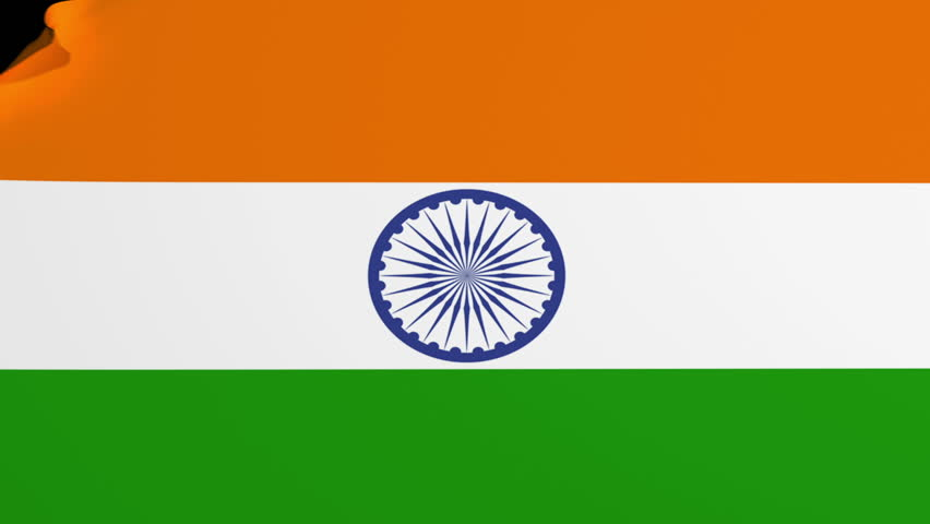 Indian Animated Flag Waving: Waving India Flag, Ready For Seamless Loop. Stock Footage
