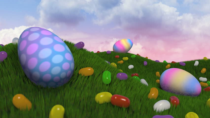 "Easter Title Intro.   A short journey past easter eggs and jelly beans on grassy hills. Camera comes to a stop and ""Happy Easter"" appears with subtle particle emission. - HD stock footage clip"