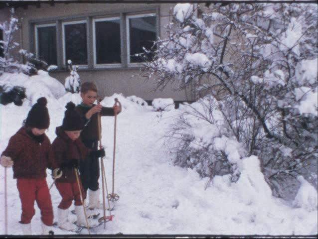 Vintage 8 mm film: Children on ski, 1970s - HD stock video clip