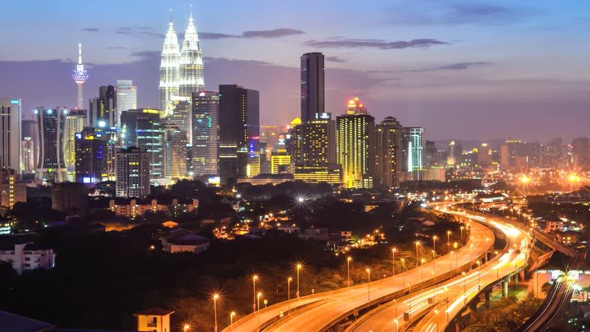 Time lapse busy light trail traffic on a freeway of Kuala Lumpur, Malaysia - HD stock video clip