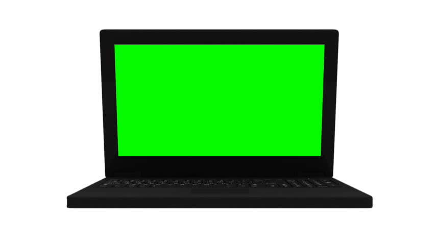 Animation of Laptop with Green Screen and Alpha Channel. HD Video Clip