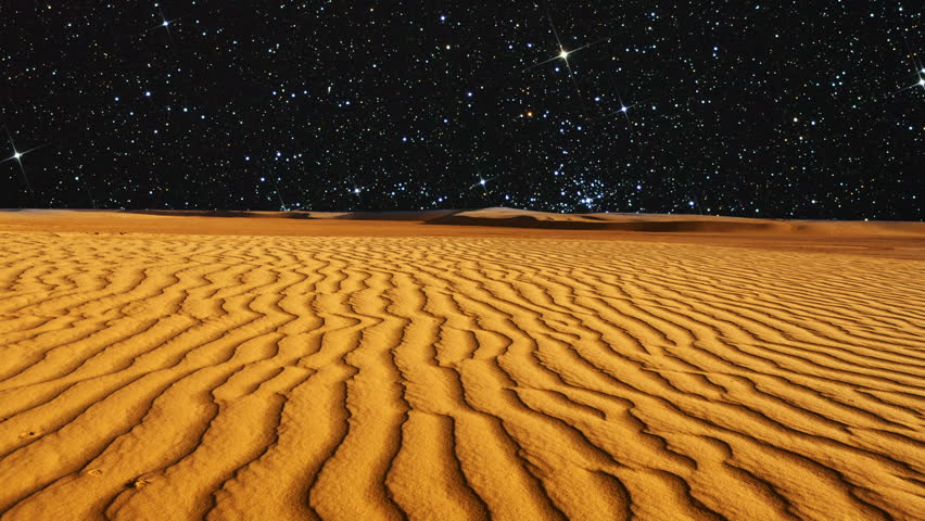 Time lapse and Dolly. Beautiful desert at the night. Star sky.