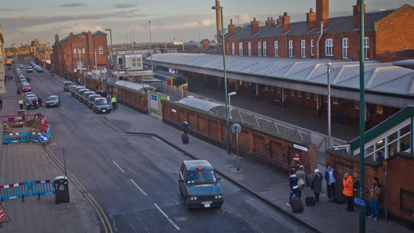 Taxi Rank Outside Train Station Timelapse